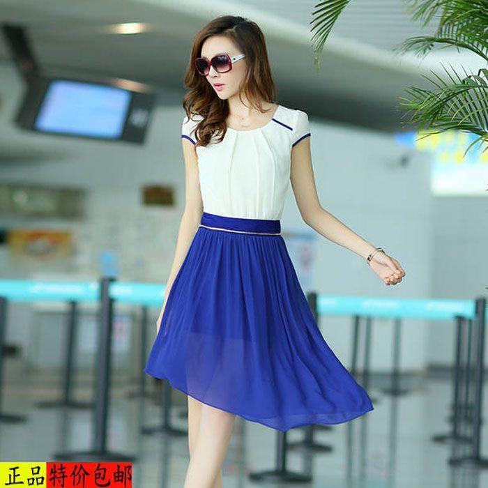 2014 young girl summer plus size one-piece dress slim hip women's summer chiffon one-piece dress include bottom dress $20.00