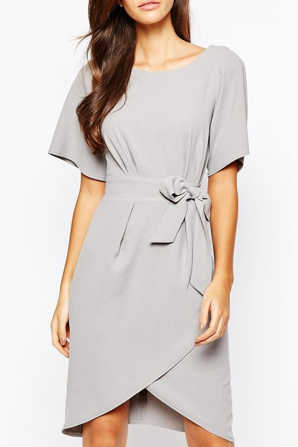 f3f447ede98 Love the Bow! Silver Grey Closet Tie Front Dress With Kimono Sleeves   Silver  Grey  Working  Woman  Dress  Fashion