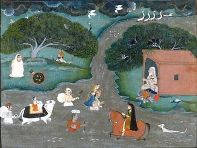 People fording a river during the monsoon (581) People fording a river during the monsoon. India, Rajasthan, Mewar. c. 1830. Opaque watercolour, gold and silver on paper. 22.4 x 28.8 cm. Acquired 1974. Robert and Lisa Sainsbury Collection. UEA 581