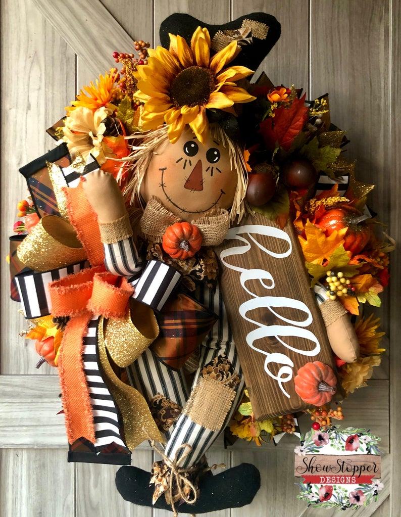 Hello Fall Wreath Scarecrow Wreath Scarecrow Door