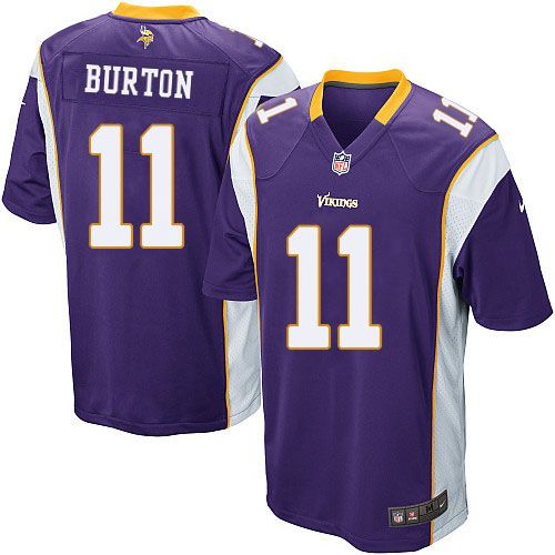 mens nike minnesota vikings 11 stephen burton game purple team color nfl jersey sale