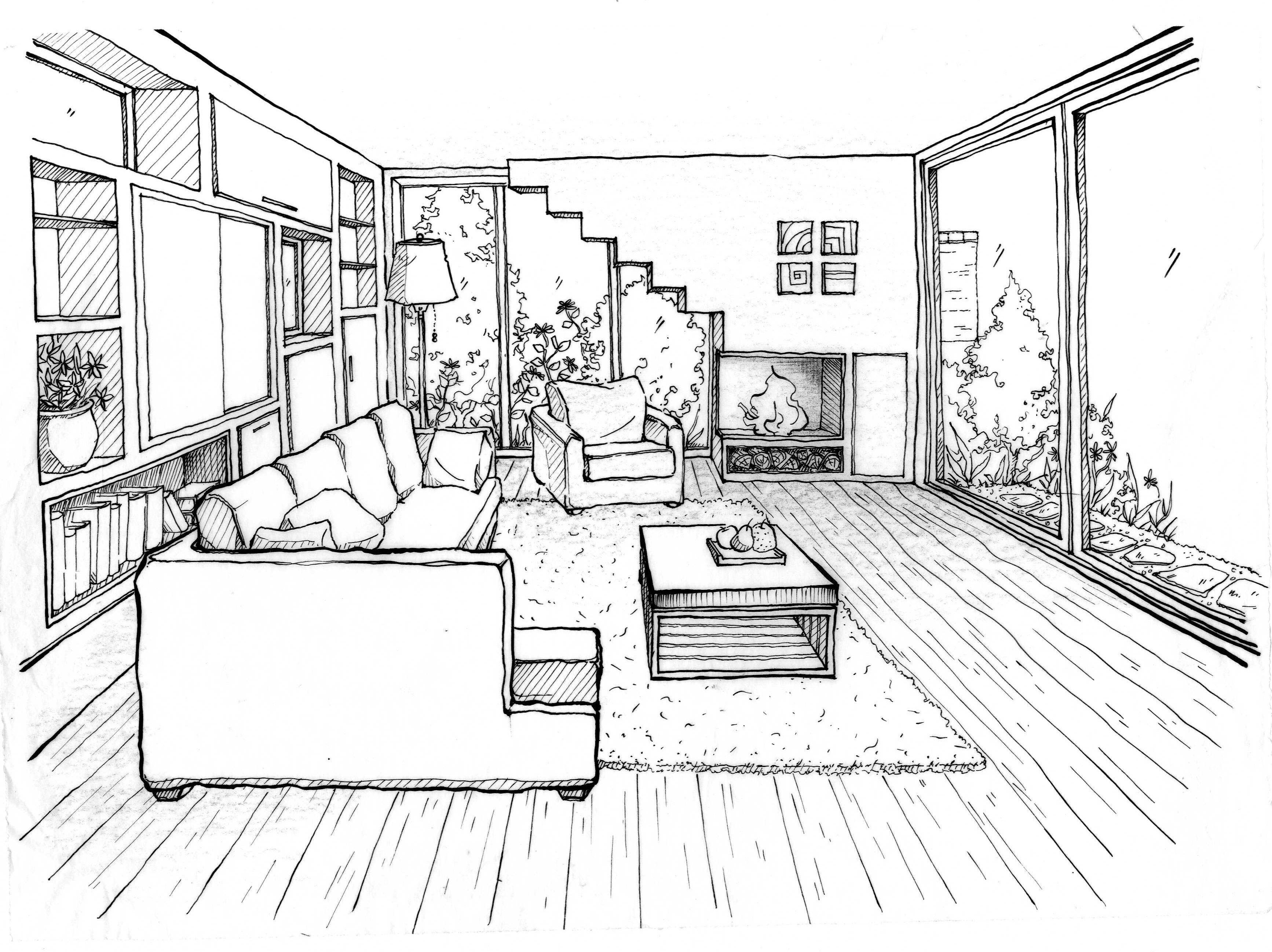 3468x2597 Perspective Drawing Living Room Room Perspective