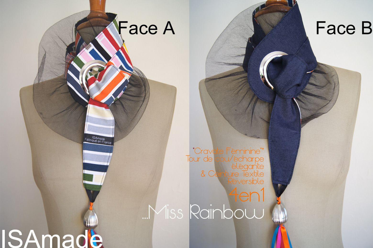Cravate/ tour de Cou & Ceinture Reversible en Jean Rayures Multicolores : Echarpe, foulard, cravate par isamade