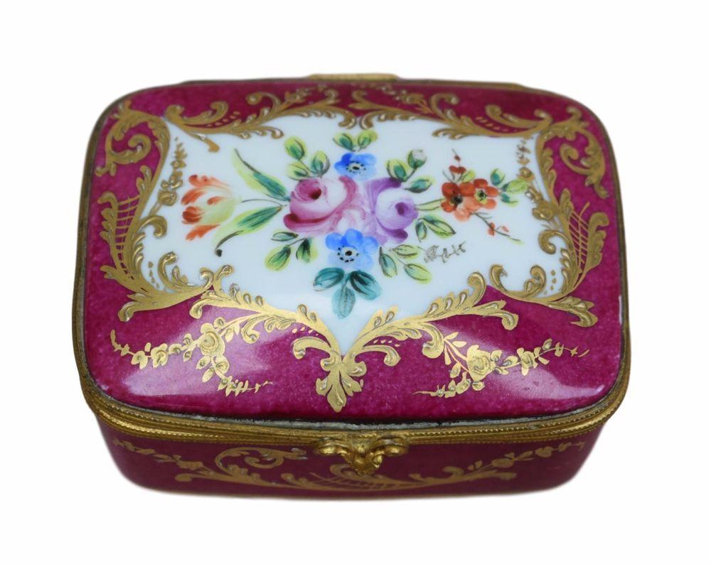 French Vintage Hand Painted Le Tallec Paris Hinged Casket Trinket Box Porcelain Ebay Trinket Boxes French Vintage Limoges Boxes