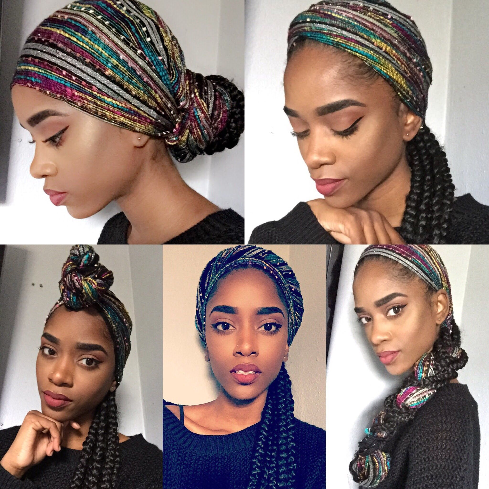 How To Tie A Head Scarf With Braids Head Wraps In 2019 Head