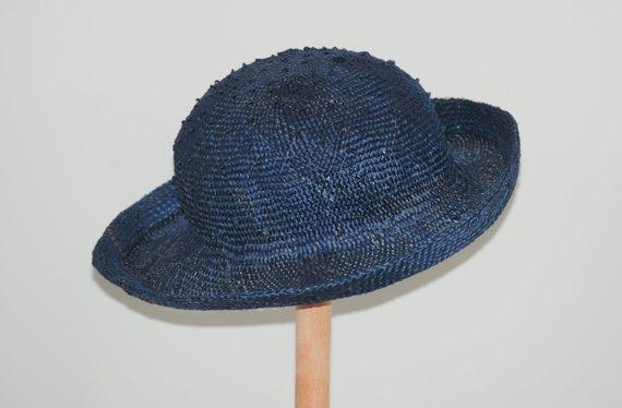 96def180cf4350 blue straw hat for women/ navy summer hat/ summer cloche hat/ sun  protection hat/ elegant ladies ha