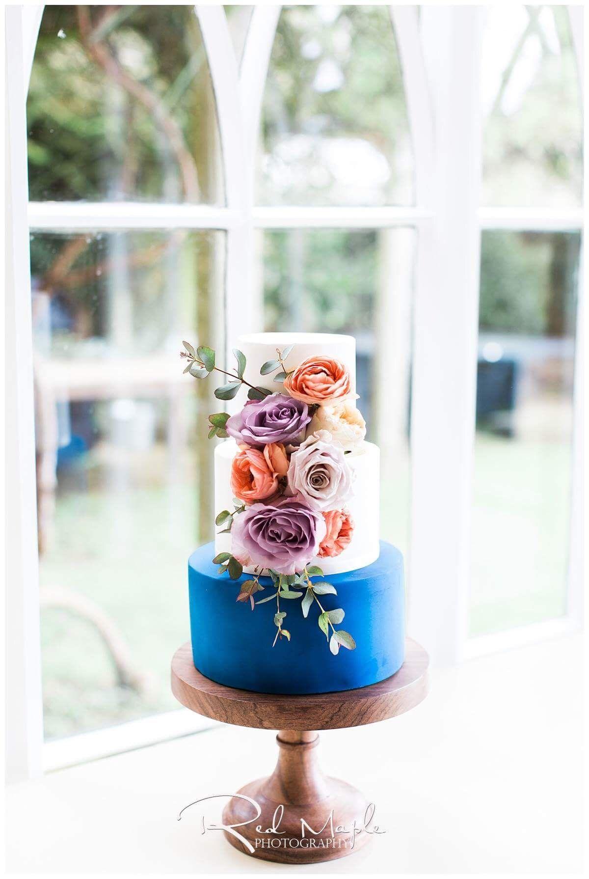 Blue orange and purple three tier wedding cake by victoriaus cake