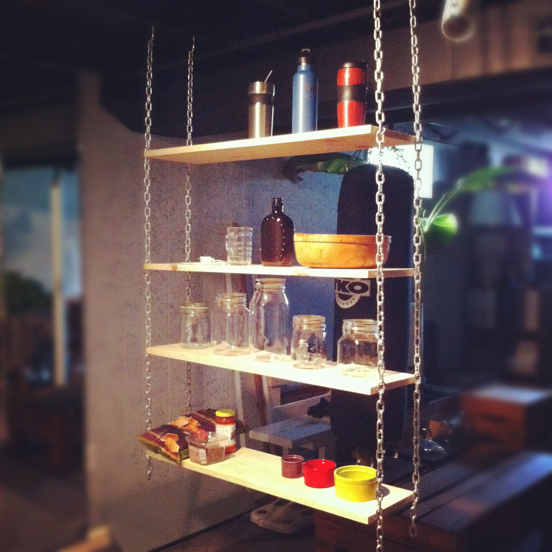 Suspended Shelves From Ceiling: Upcycled Pallet & Chain Hanging Shelves (adjustable