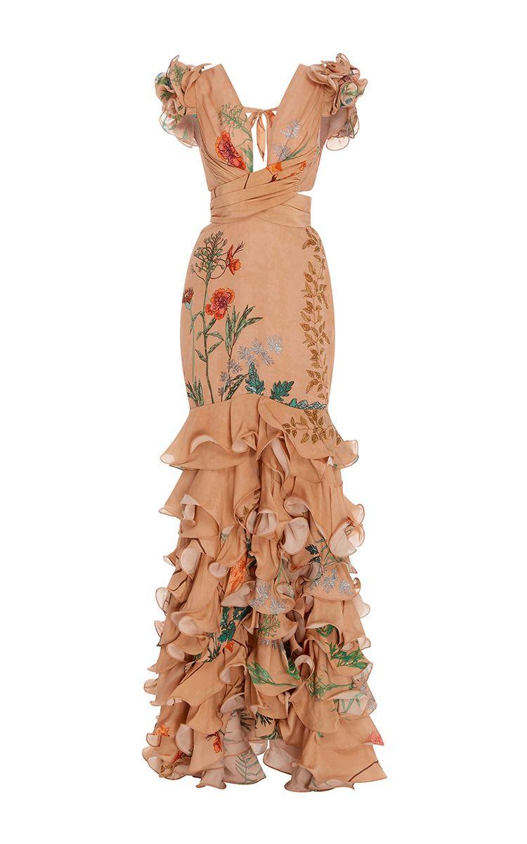 Yemanya deep v neck long dress by johanna ortiz for preorder on moda
