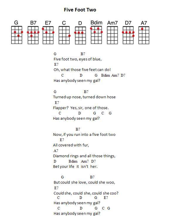 Jpeg 442 Ko Five Foot Two Uke Chords Songs To Play Pinterest
