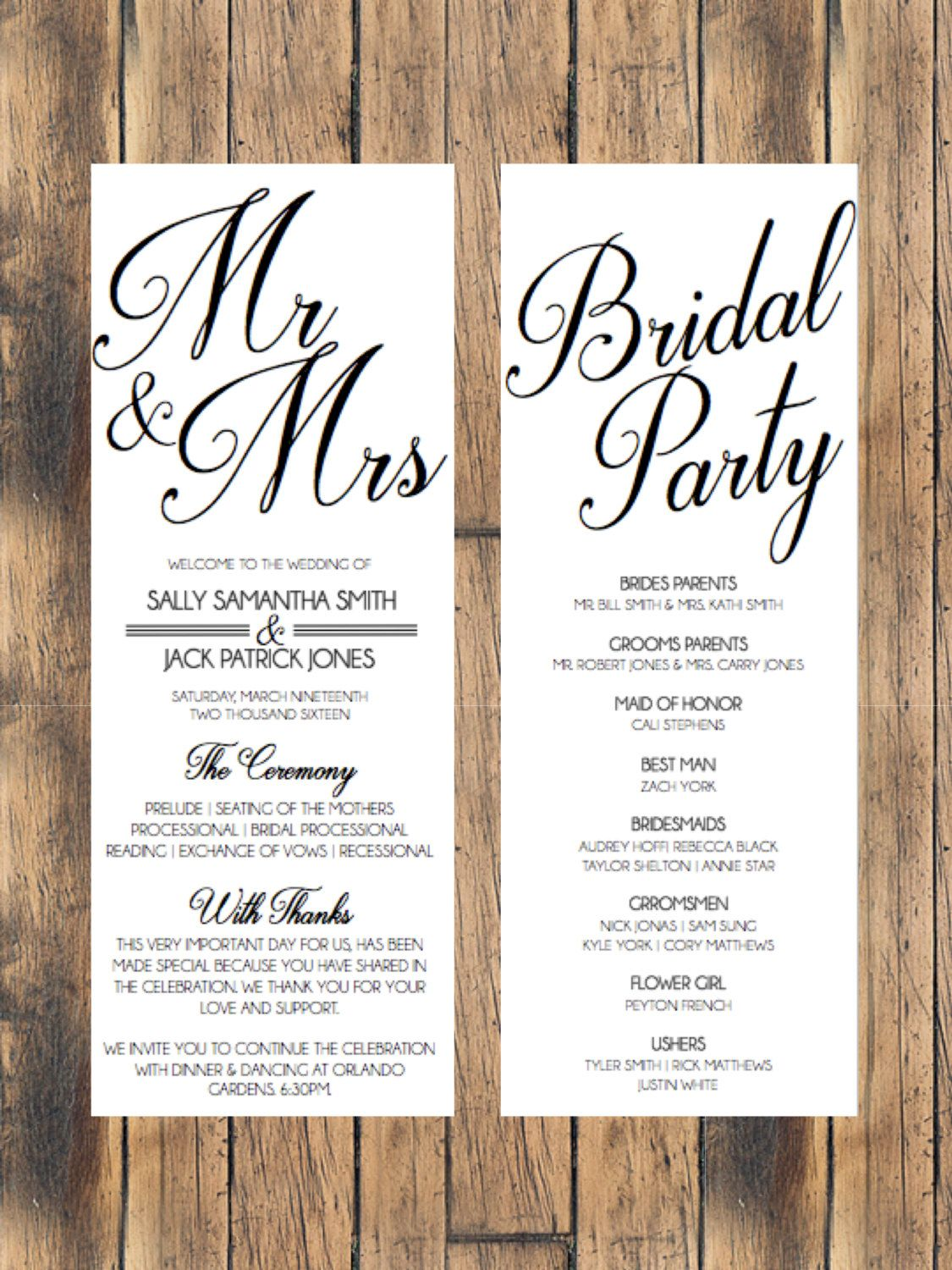 Wedding Programs, Wedding