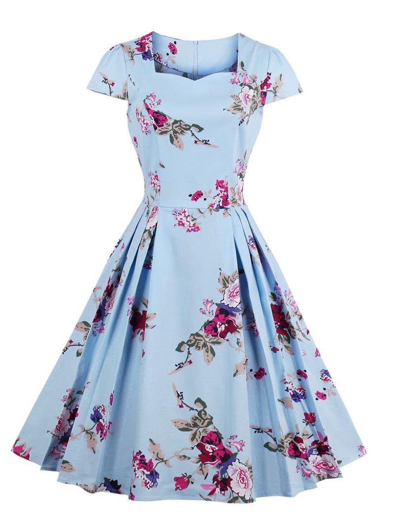 All Over Florals Circle Dress Gaun Pakaian Wanita Dan