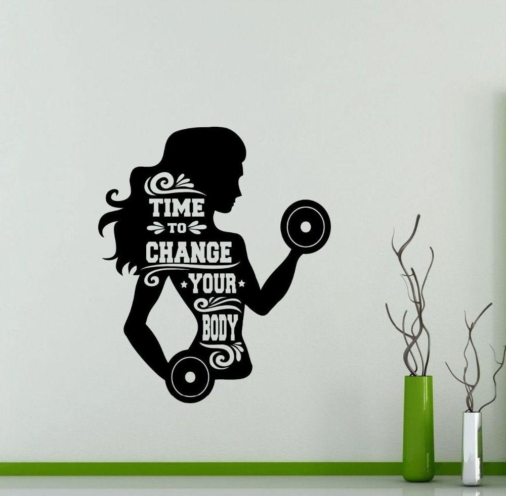 Gym wall decal girl woman fitness sport vinyl sticker art decor