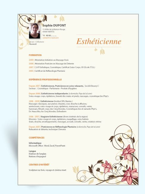 Modèles CV word esthéticienne Exemple Curriculum Vitae original - resume template libreoffice