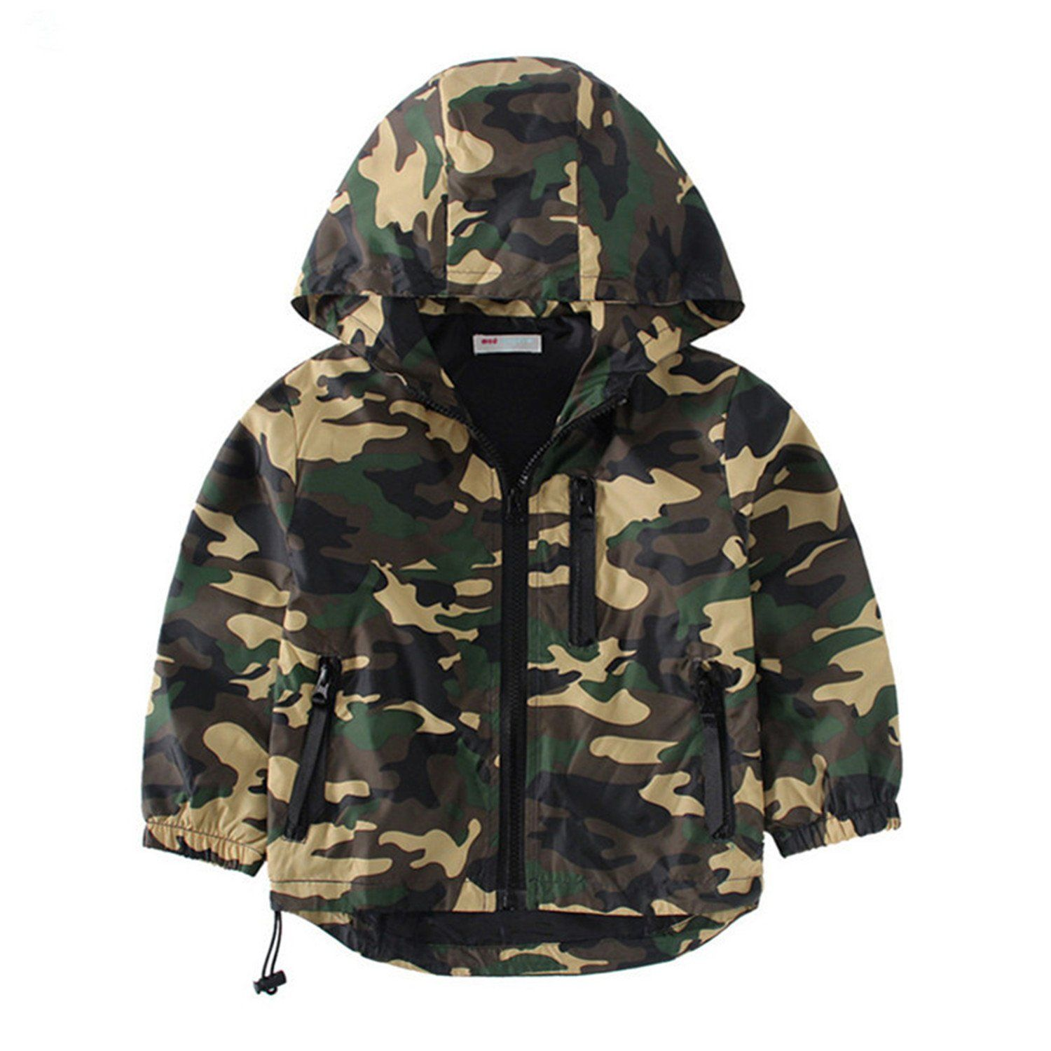 Kid Baby Boy Camouflage Coat Hooded Zip Jacket Spring Long Sleeve Outerwear