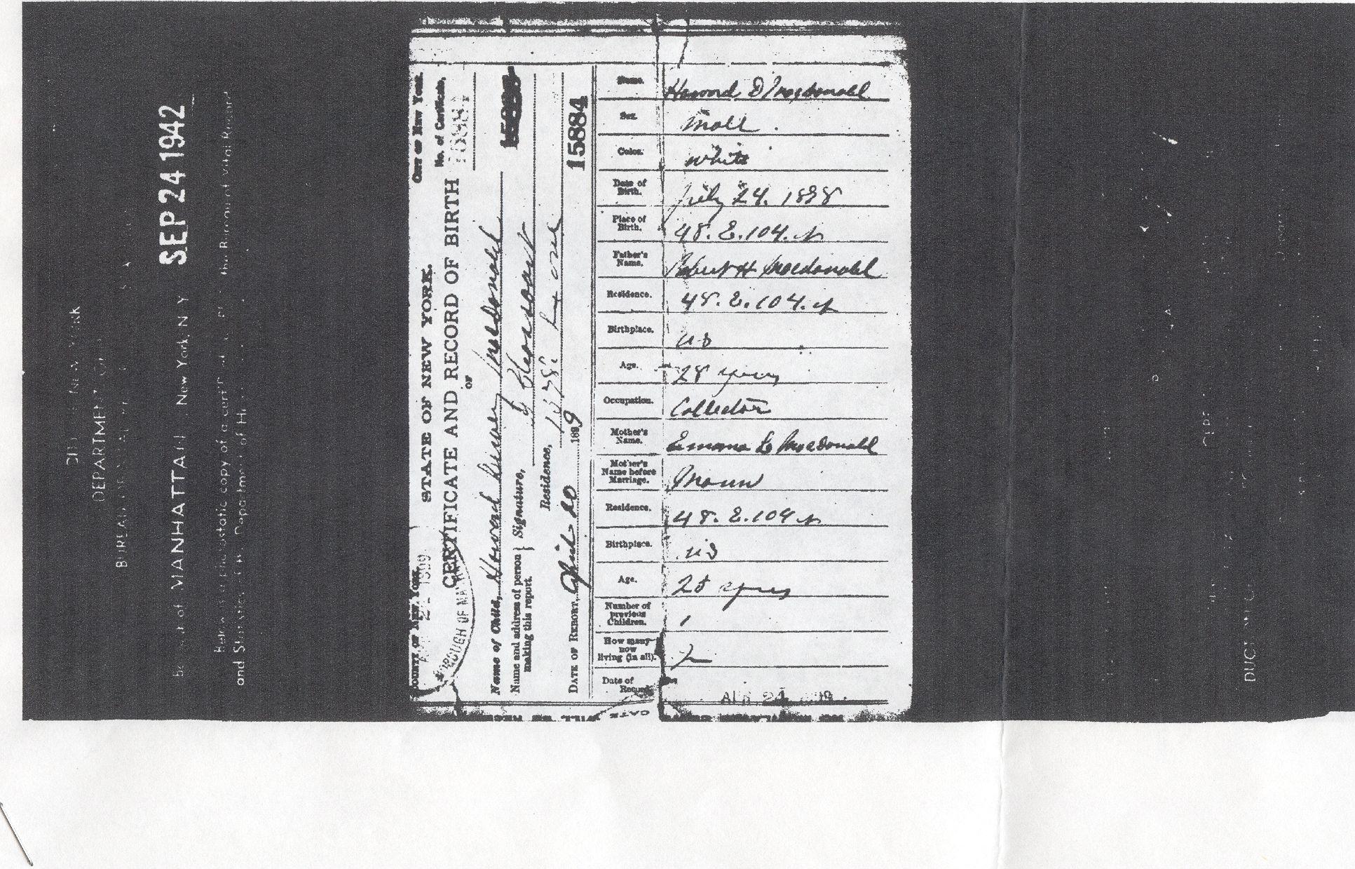 Howard dewey macdonald birth certificate 1898 manhattan ny howard dewey macdonald birth certificate 1898 manhattan ny aiddatafo Image collections