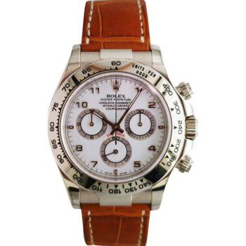 Rolex Daytona Cosmograph 18kw Brown Strap 116519 Pre Owned Rolex Pre Owned Watches Watches