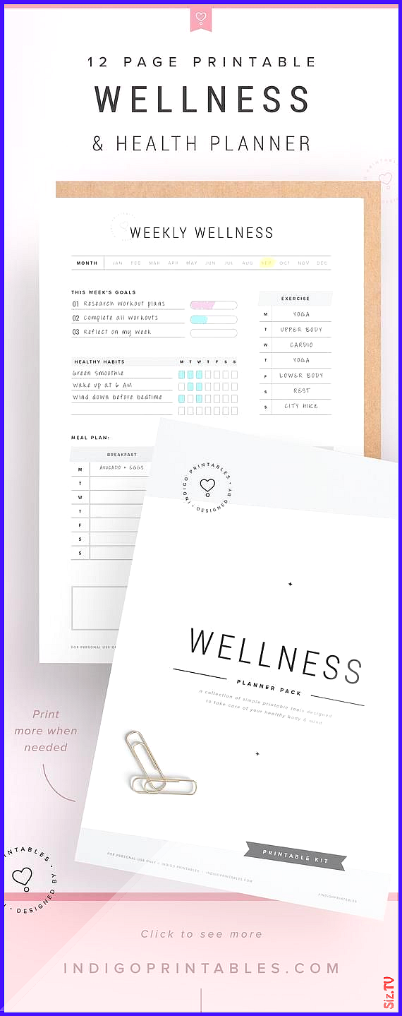 Care Digital fitness mood planner Tracker week WEEKLY Wellbeing wellness Wellness Planner Self Care...