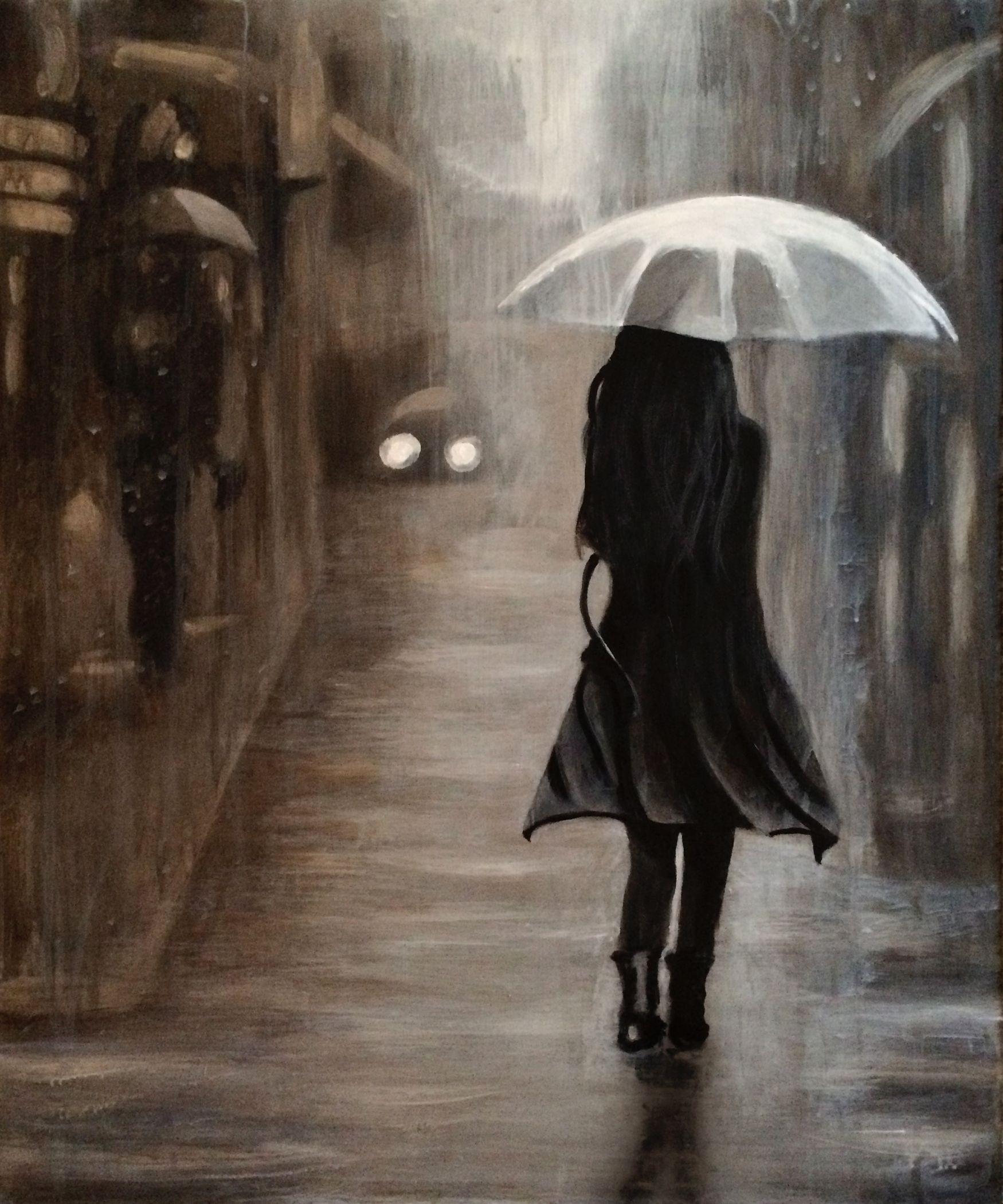 Картинка девушка ушла в дождь