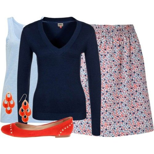 I like this outfit - minus the skirt. I like the pattern of the skirt, but I don't wear skirts to work.