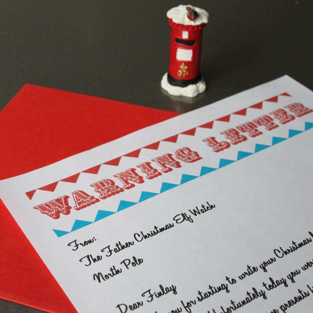 Pearl And Earl  Personlised Santa Naughty List Warning Letter