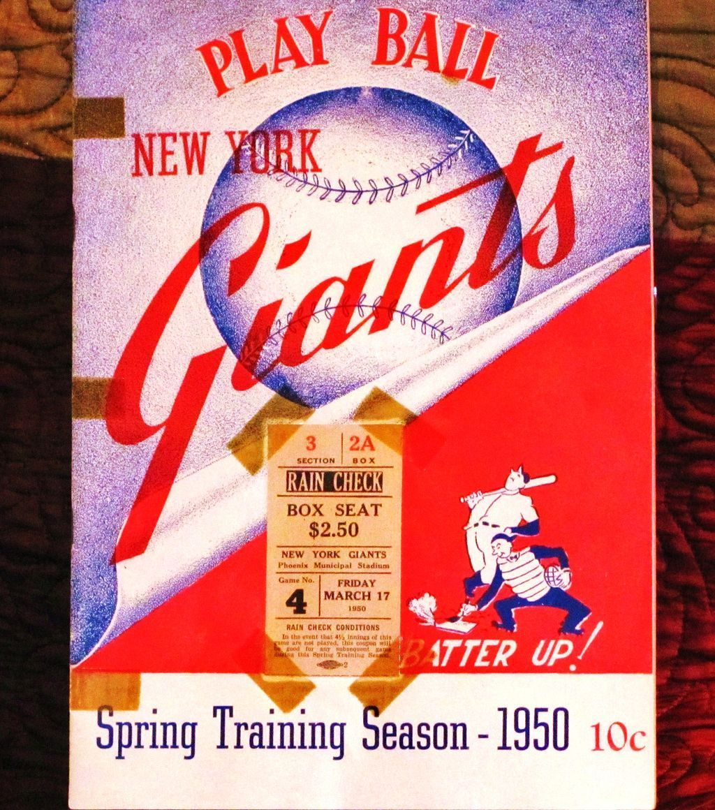 1950 New York Giants Major League Baseball Team Spring Training Roster Book Scorecard And Ti Major League Baseball Teams Major League Baseball Baseball Ticket