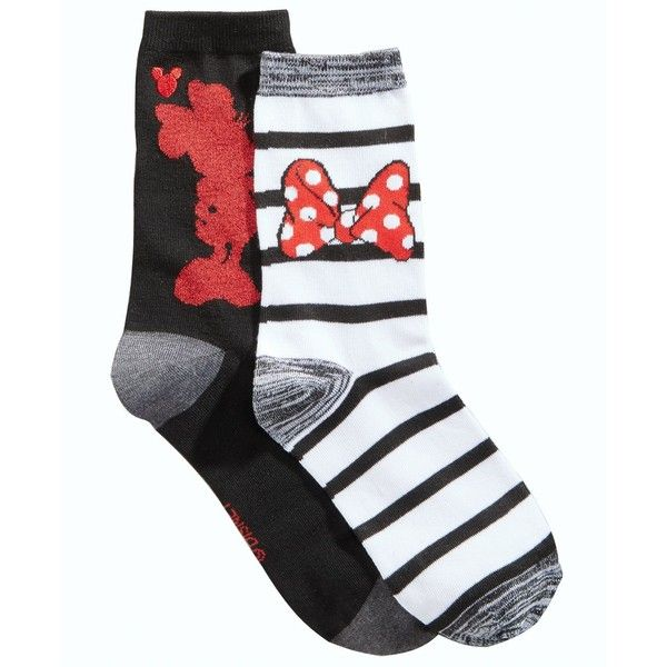 058522aef93 Disney Women s 2-Pk. Boxed Minnie Mouse Crew Socks ( 15) ❤ liked on  Polyvore featuring intimates