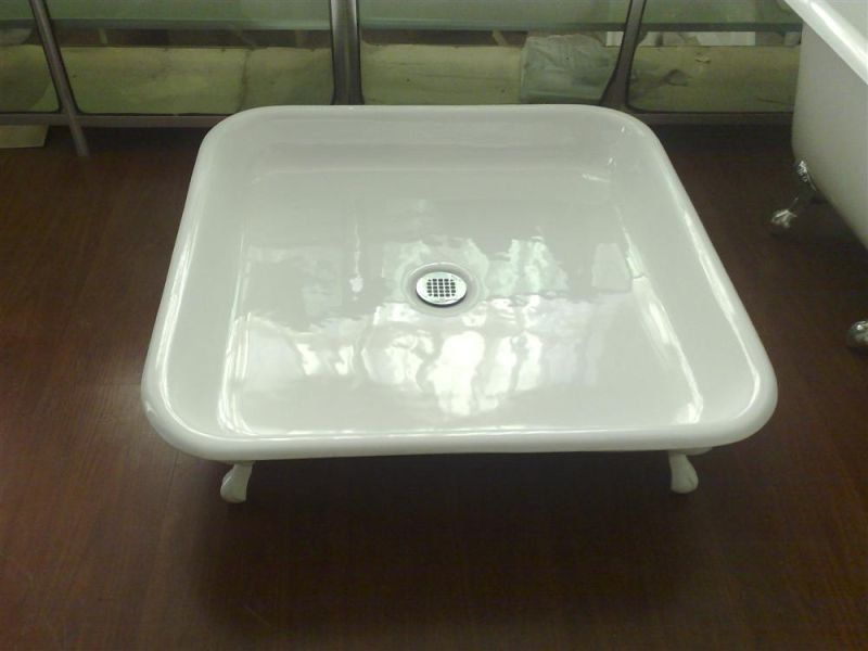 Square Enameled Cast Iron Shower Pan Shower Base With