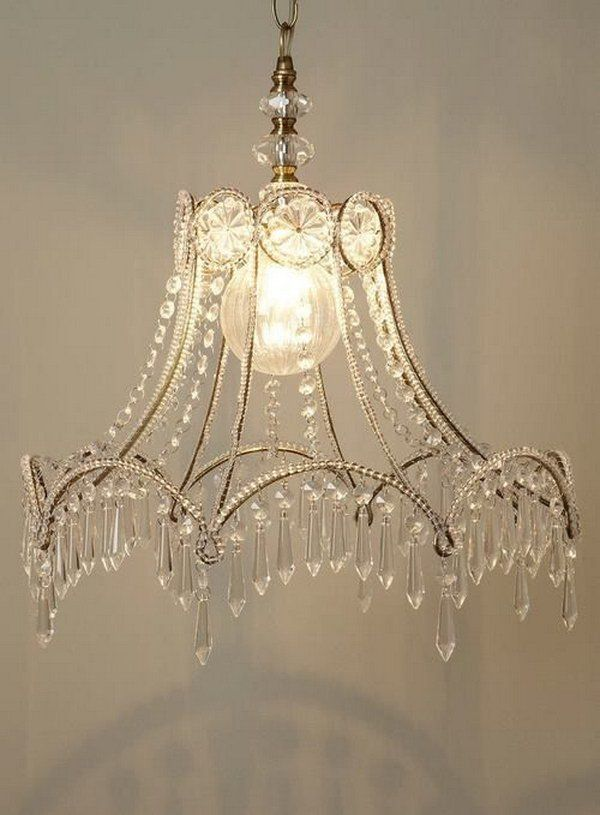 From A Lamp Shade Skeleton To Chandelier Shabby Chic Diy