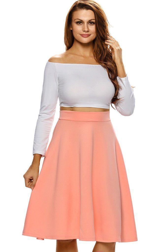 Jupe Patineuse Mi Longue Taille Haute Orange   couture femme   Jupe ... a7e4d1dc7ef0