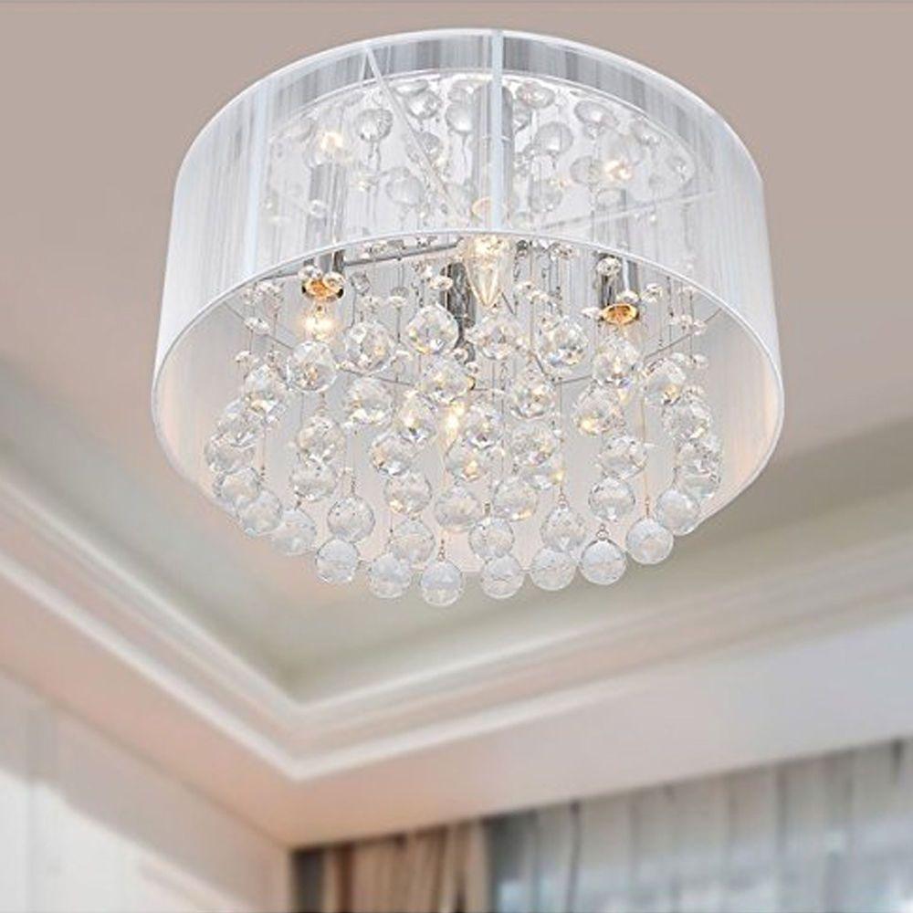 New Modern Drum Shade Crystal Ceiling Chandelier Pendant Light