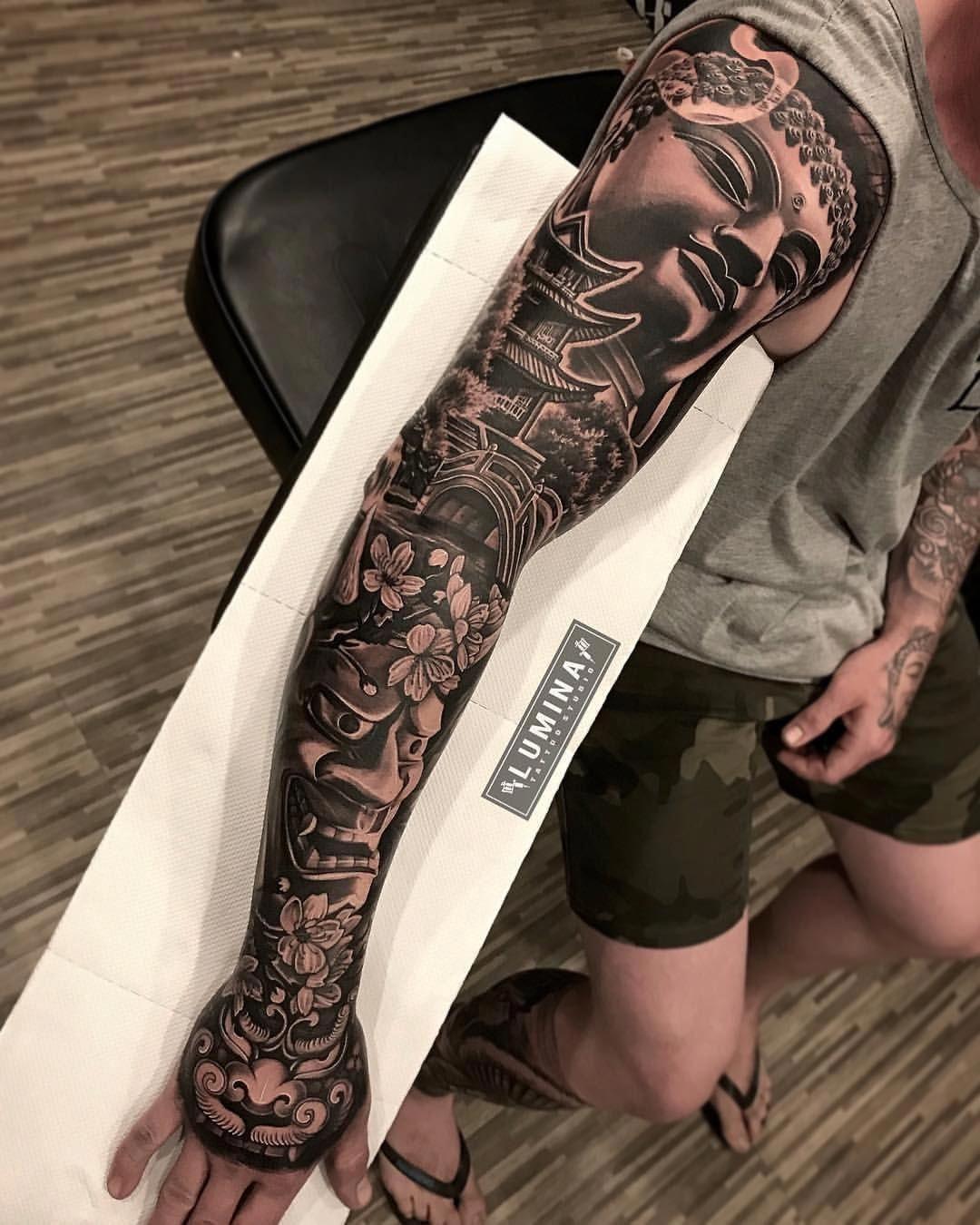 Dodepras Tattoo Sur Instagram Japanese Full Sleeve Done One Sitting At Lumina Tattoo Studio Asian Tattoo Sleeve Samurai Tattoo Sleeve Arm Tattoos For Guys