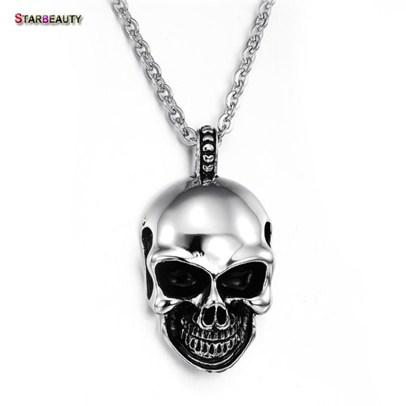 Smiling Skull Head Necklace Men Hollow Out Punk Skeleton Necklace