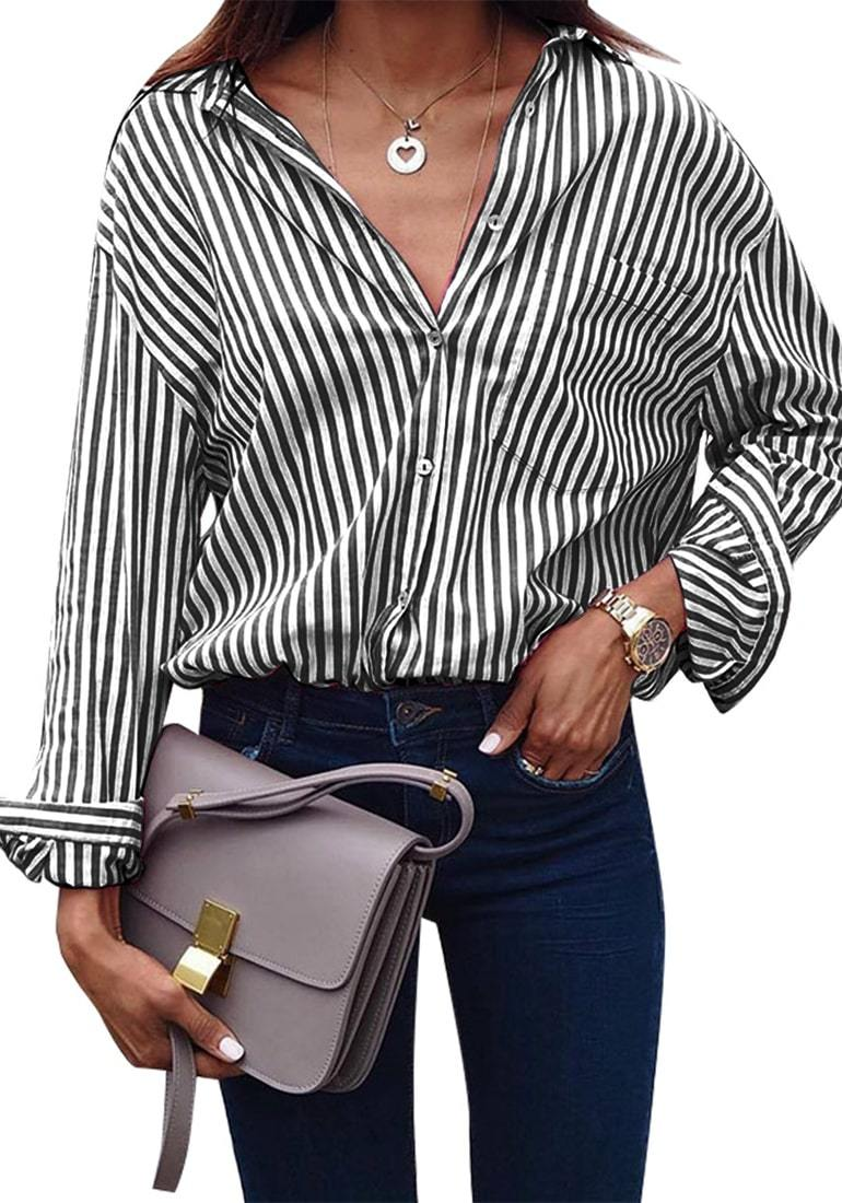 9bde852ea Casual V Neck Vertical Striped T Shirt Long Sleeve Button Down Tops ...