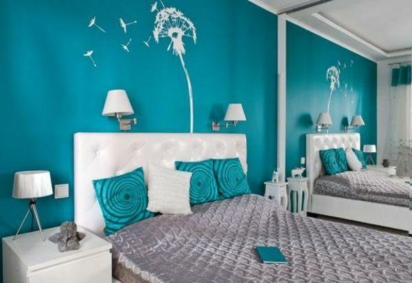 wandfarbe türkis wandtattoo-pusteblume Türkis \/ Turquoise - trkis bilder frs schlafzimmer