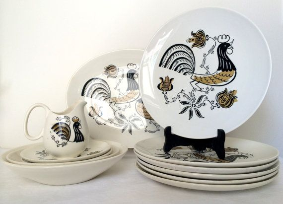 Vintage 1950\u0027s Good Morning by Royal Dishes Dinnerware Set Mid Century Modern Rooster Kitchenware & Vintage 1950\u0027s Good Morning by Royal Dishes Dinnerware Set Mid ...