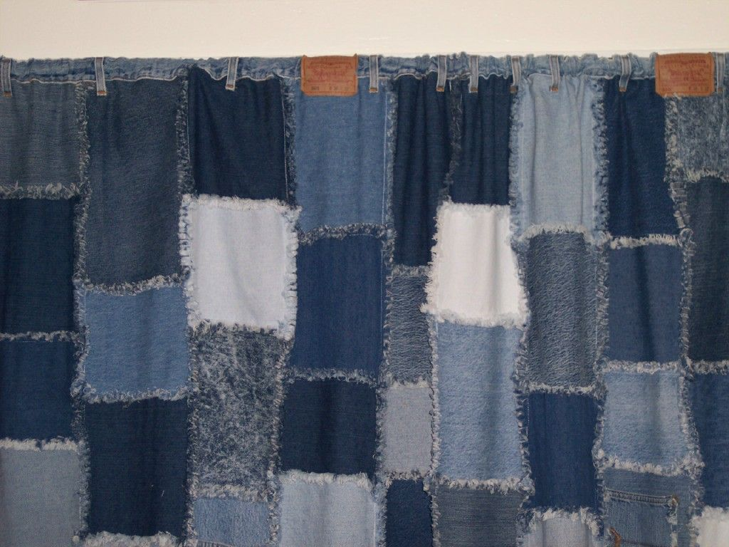Denim Rag Curtains Made With Waistband And Belt Loops To