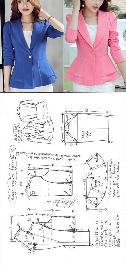Blazer peplum | DIY - molde, corte e costura - Marlene Mukai | moda ...