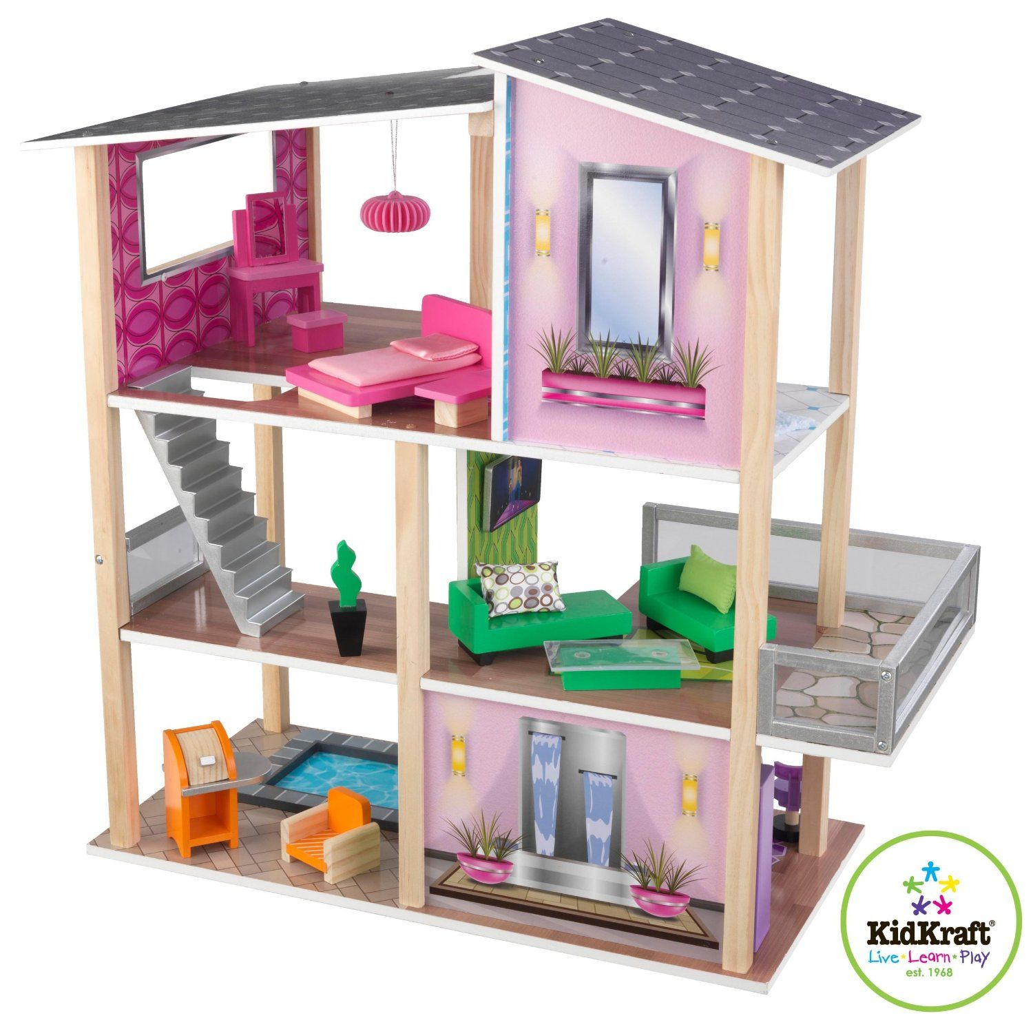 Kidkraft Modern Living Dollhouse  Toy Dollhouses At Hayneedle