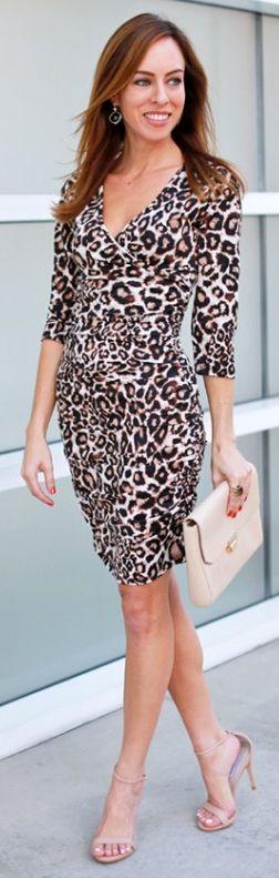 Camel Leo Print Mini Dress