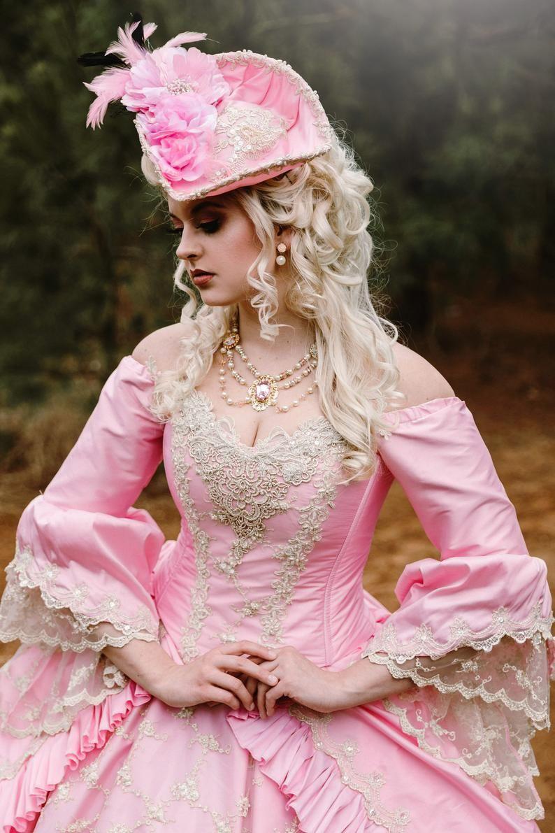Custom Pink Champagne Marie Antoinette Upscale Victorian Image 3 Historical Dresses Victorian Costume Halloween Fantasy Dress [ 1191 x 794 Pixel ]