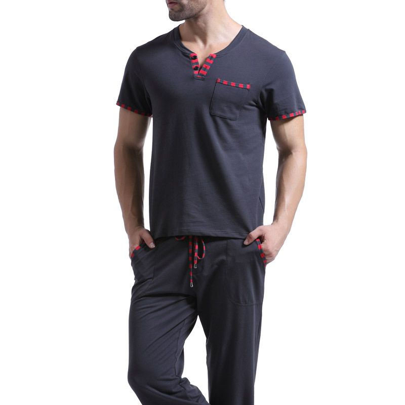 Men T Shirt Cotton Pajama Set Sleepwear Sleep Bottoms Yoga Long Pants Pajama Tees Undershirts Tshirts Brand Casual Short Sleeve