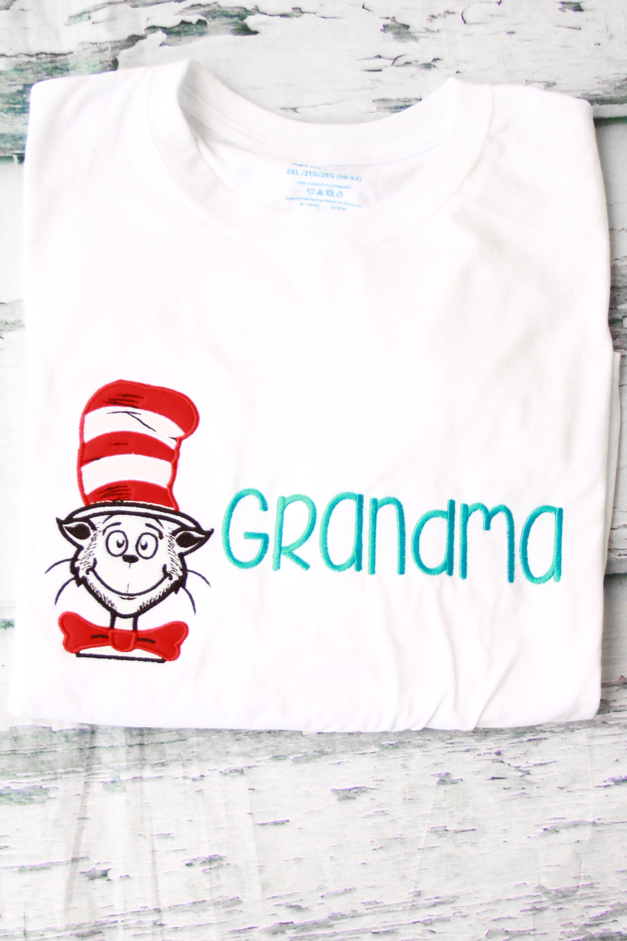 Dr Seuss Cat In The Hat Theme Bow Tie Grandma Shirt Parent Shirts Birthday For Grandparents Boy 1st By LoveAndLollipopsBaby On Etsy