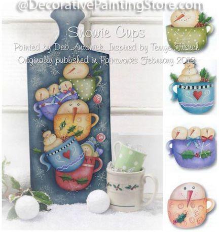 The Decorative Painting Store Snowie Cups Ornaments Plaque
