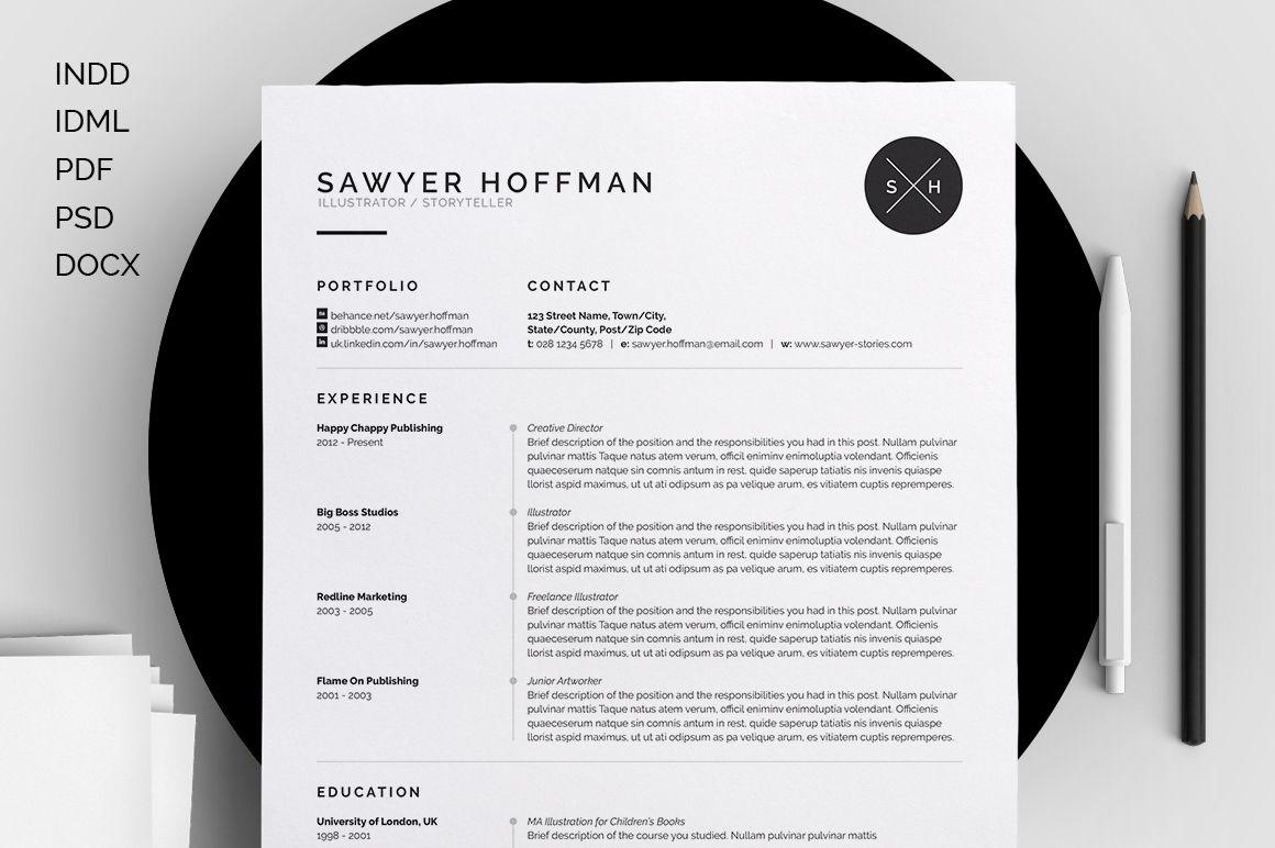 Resume/CV - Sawyer by bilmaw creative on Creative Market   W o r k ...