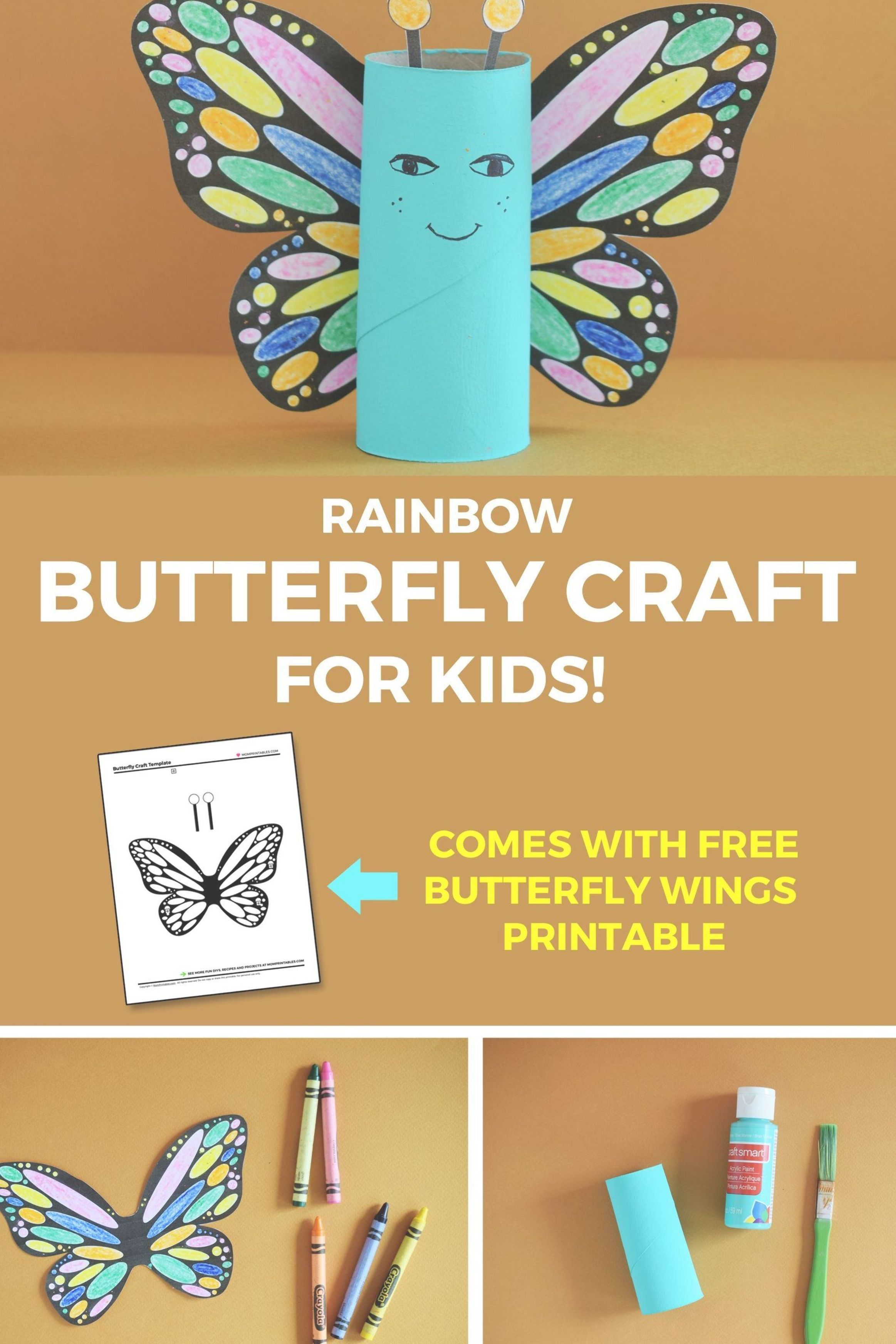 Rainbow Butterfly Paper Roll Craft For Kids