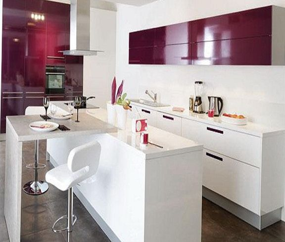 Purple And Lilac Kitchen In The Interior With Images Stylish