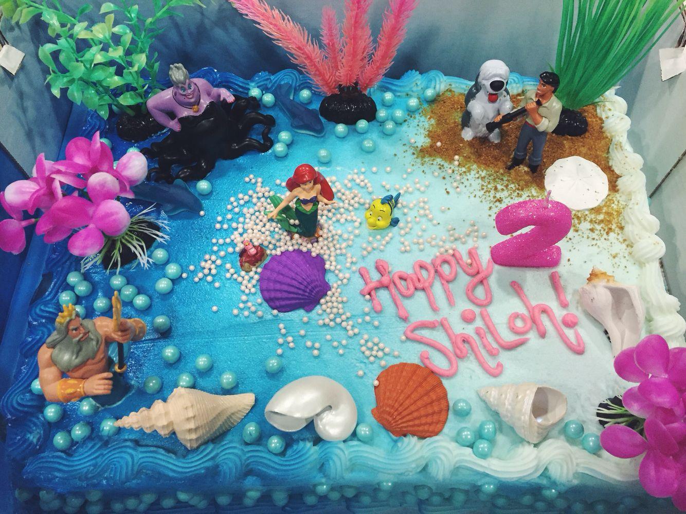 Costco Plain White Iced Cake Turned Magical Little Mermaid Oasis 2nd Birthday Cake Mermaid