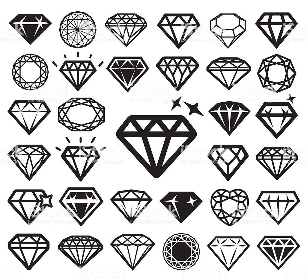 Diamond icons set. Vector illustration. Diamond finger