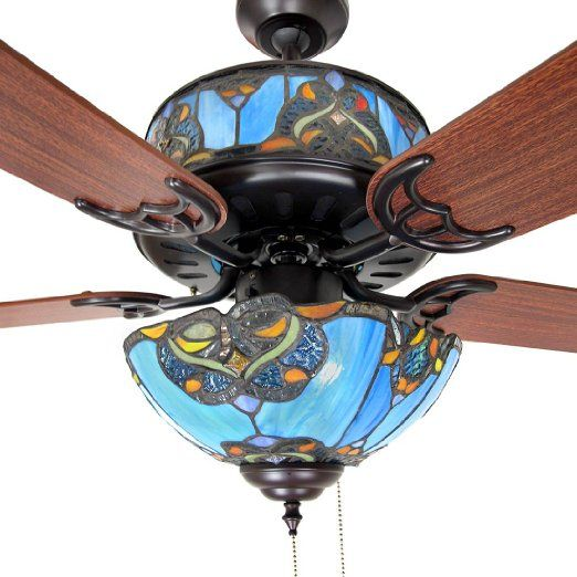 Stained glass ceiling fan and light shades of blue 48 in stained glass ceiling fan and light shades of blue 48 in amazon mozeypictures Image collections